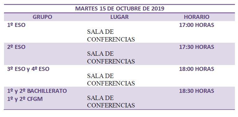 CALENDARIO DE REUNIONES DE TUTORÍA GENERAL CURSO 2019/20